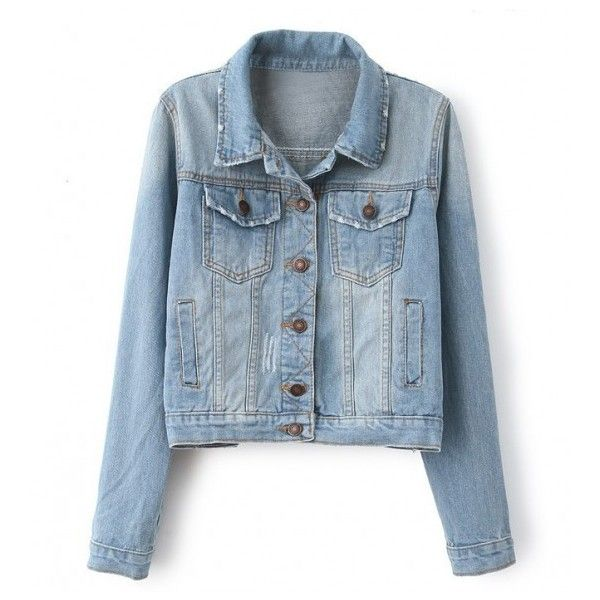 Four Pockets Light Blue Faded Denim Jacket ($17) ❤ liked on Polyvore featuring outerwear, jackets, stylemoi, coats, coats & jackets, light blue jacket, denim jacket, four pocket jacket, jean jacket and blue jackets