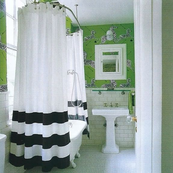 Kate Spade NYC apartment: Guest Bathroom, Black And White, Subway Tile, Black White, Zebras Wallpapers, Green Bathroom, White Bathroom, Shower Curtains, Kate Spade