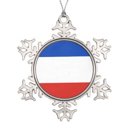 Flag Schleswig-Holstein Snowflake Pewter Christmas Ornament - stripes gifts cyo unique style