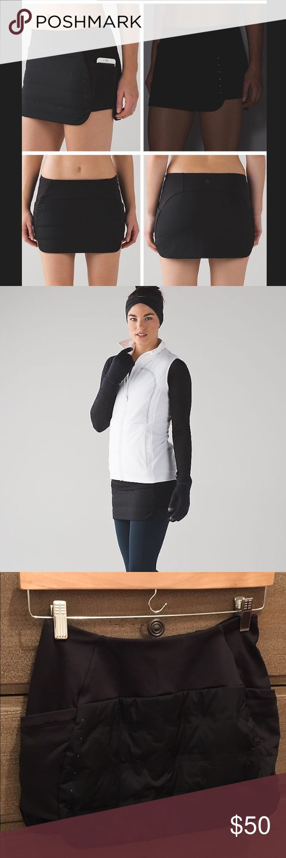 Lululemon Run for Cold Skirt Black size 4. SOLD OUT.  Layer this Primaloft® Active skirt over your tights for added warmth on winter runs. Stretch Glyde and Fleece fabric are both water-repellent. Super chic, and warm! like-new worn once. lululemon athletica Skirts