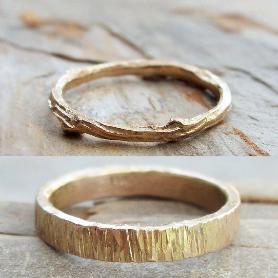 Solid 14k Matching Tree Bark / Twig Wedding Band Set in Wood Grain Yellow Gold…
