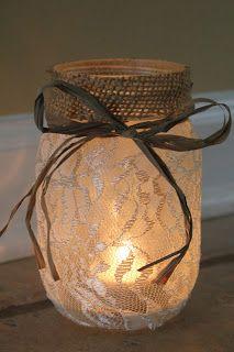 Mason Jar Luminary - made with burlap & lace. Rustic and romantic!