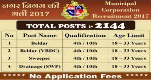 Municipal Corporation Recruitment 2017 - 2144 Beldar, Sweeper Vacancies - 4th / 10th Pass Apply Now
