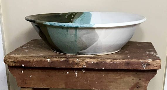 Rustic cottage chic large hand thrown glazed ceramic mixing