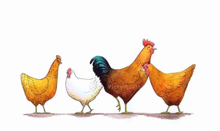 Drawing by Vicky Pratt. Gaeana Three chooks and a rooster. Farm hens. Derwent Inktense pencils and pen Find me on Facebook or Instagram. www.vicpratt.wix.com/vickypratt