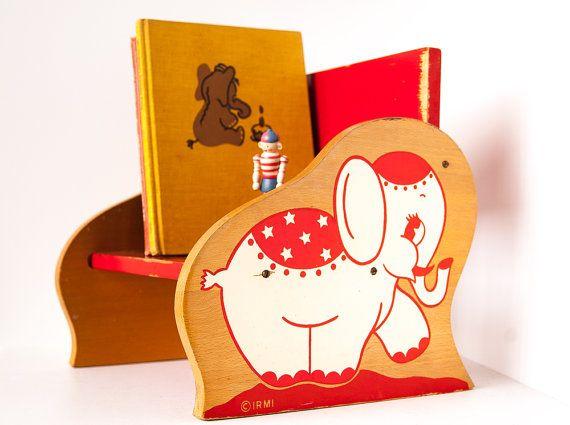Rare Vintage Irmi Bookshelf / Kids Bookshelf Elephant  / Circus Elephant / Vintage Kids Decoration / photo prop