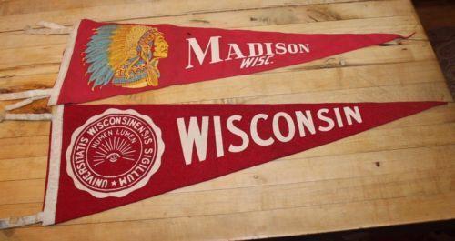 Vintage-40s-50s-2-UW-Madison-University-of-Wisconsin-Badgers-Pennant-Football
