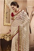 Exquisite Bick Red & Beige  Embroidered Saree -
