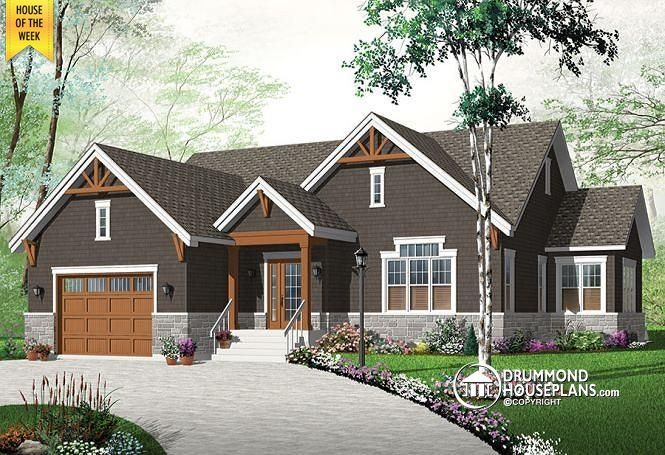HOUSE OF THE WEEK  Latest home trend, cozy & stylish, 3 bedrooms, Jack&Jill bath, master suite, central fireplace, large kitchen with island.   http://www.drummondhouseplans.com/house-plan-detail/info/kipling-4-craftman-northwest-1003170.html