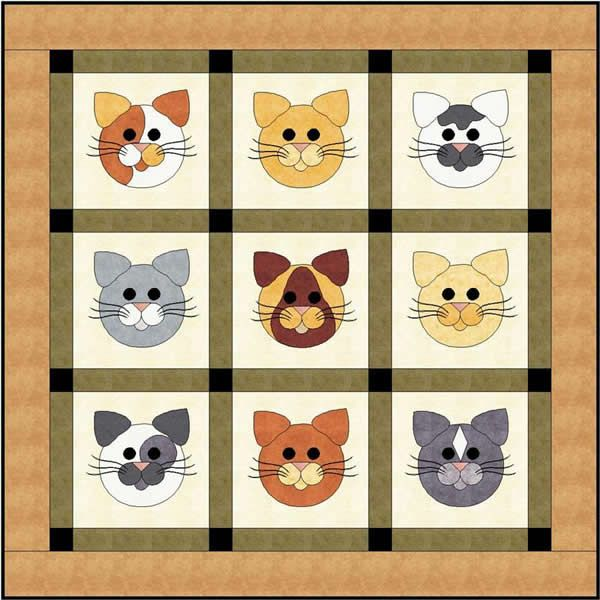 Tom Cats Quilting Pattern FCP-018 (advanced beginner, lap and throw)
