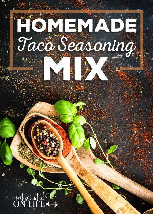 Homemade Taco Seasoning Mix - chili powder, ground cumin, garlic powder, paprika, oregano, onion powder, salt, crushed red pepper, black pepper