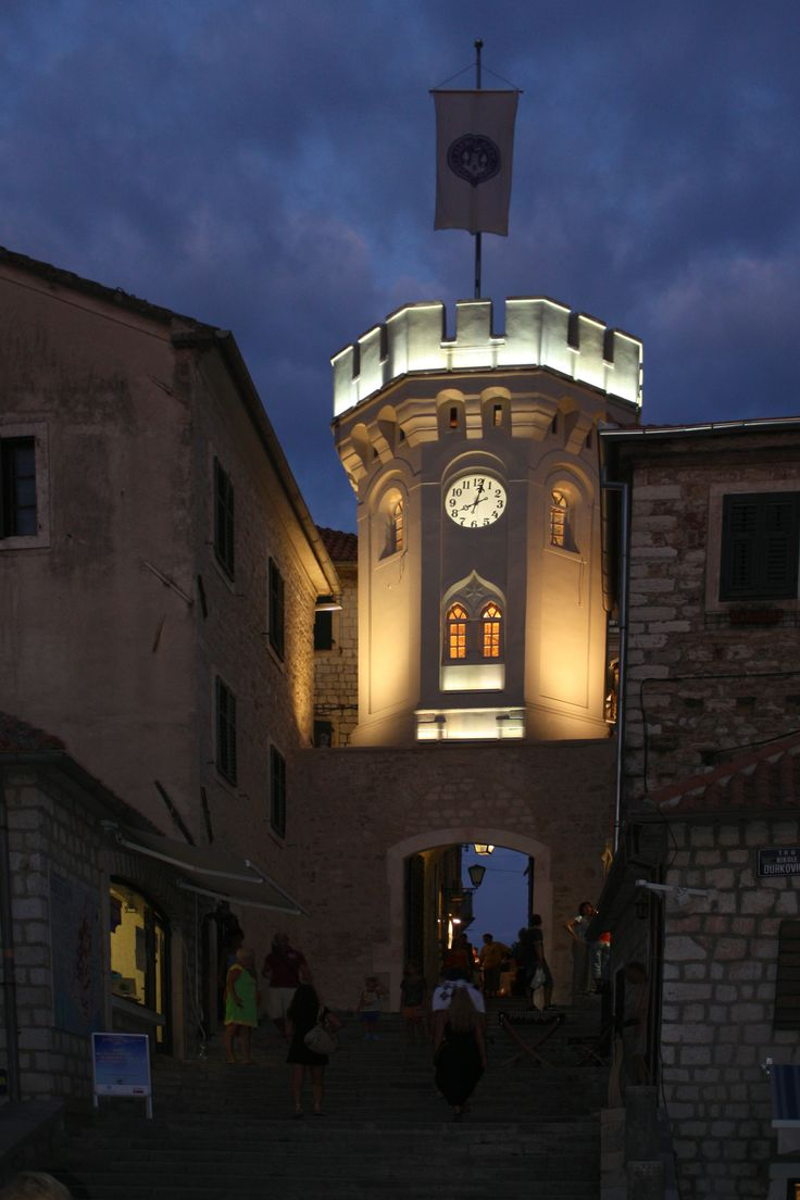 The clock-tower and old town gate of Herceg Novi, Montenegro.