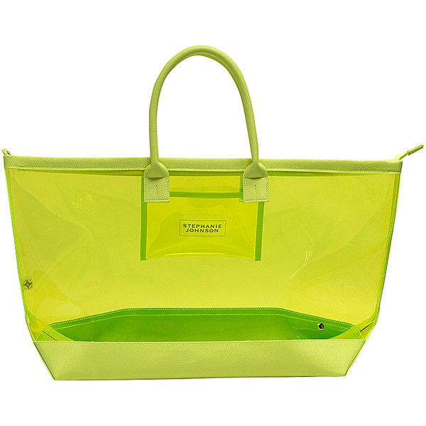 Stephanie Johnson Miami Carry-All Tote - Neon Yellow - All Purpose... ($54) ❤ liked on Polyvore featuring bags, handbags, tote bags, yellow, shoulder tote bags, yellow tote bag, clear handbags totes, zip tote and clear beach tote