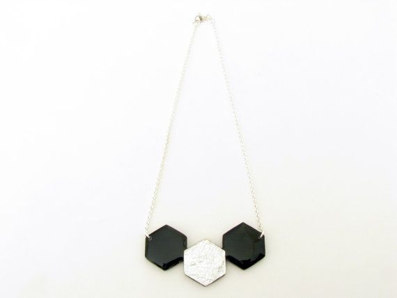 Honeycomb Necklace Black Geometric Necklace by SotiriaVasileiou, $27.00