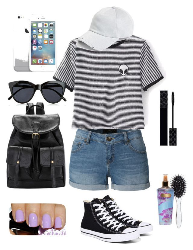 """""""Amusement park outfit"""" by jadaanthony101 on Polyvore featuring LE3NO, WithChic, Converse, rag & bone, Le Specs, Gucci, New Look and Victoria's Secret"""