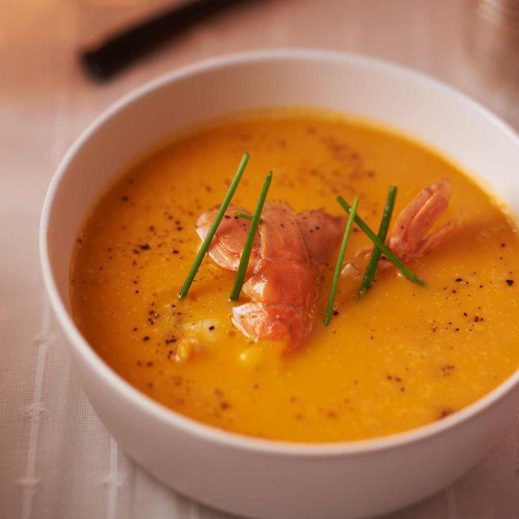 Découvrez la recette des langoustines rôties, crème de butternut