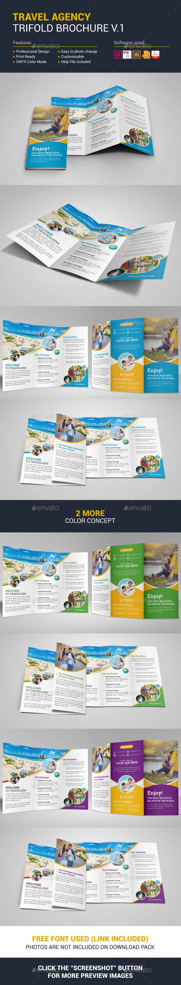 Travel Agency Trifold Brochure  — EPS Template #business trifold #print ready • Download ➝ https://graphicriver.net/item/travel-agency-trifold-brochure/17973770?ref=pxcr