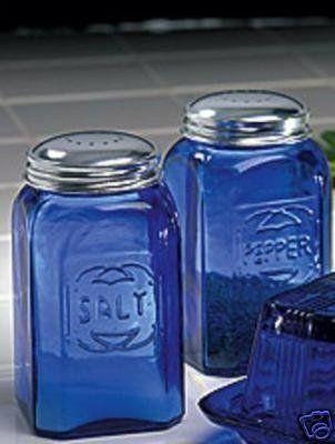 Salt And Pepper Square Blue Cobalt Glass By DREAM HOME DECORATING