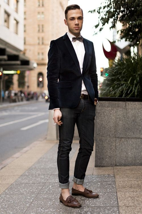 Black Linen Jacket Bow Tie Black Denim Fitted Jeans and Dark Brown Loafers. Menu0026#39;s Spring ...