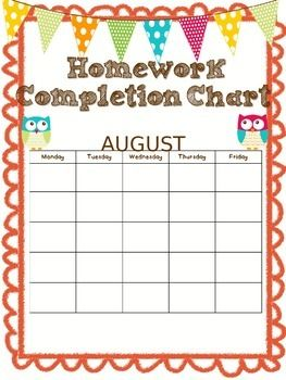 Homework completion chart and assignment log