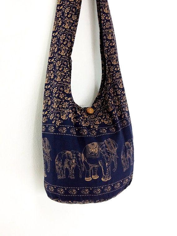 Women bag Handbags Cotton bag Elephant bag Hippie Hobo bag Boho bag Shoulder bag Sling bag Messenger bag Tote bag Crossbody Purse Navy blue