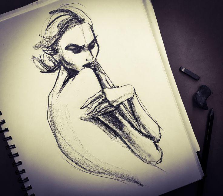 Sad girl drawing, by Lara Wolf, Graphite #illustration #drawing #woman #graphite
