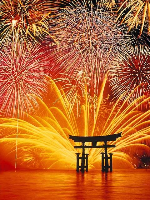 World heritage at Itsukushima-shrine, Hiroshima and fireworks. [世界遺産の厳島神社と花火]