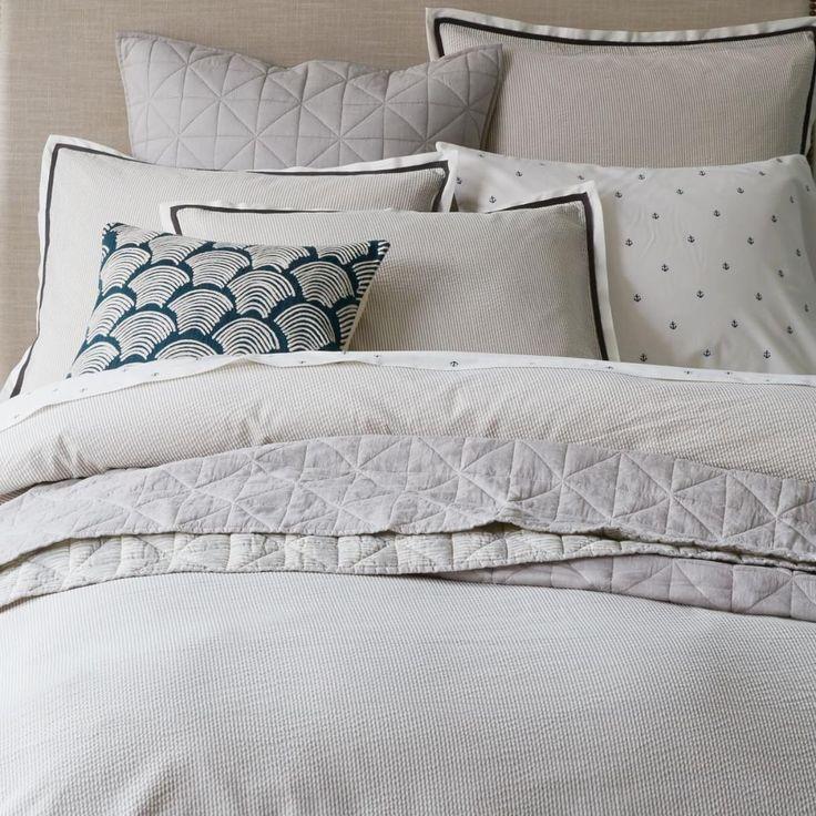 Seersucker Pinstripe Quilt Cover + Pillow Shams - Platinum