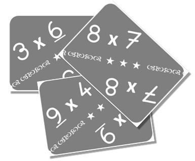 Cartes pour apprendre les tables de multiplication.  Maths facts.