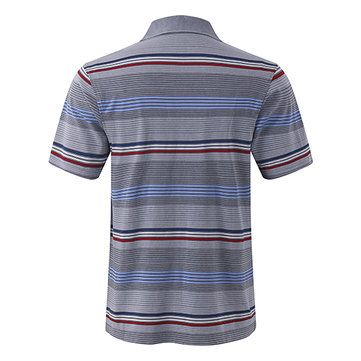 Comfort Cotton Stripe Printed Turn-down Collar T-shirts Men's Casual Business POLO Shirt at Banggood