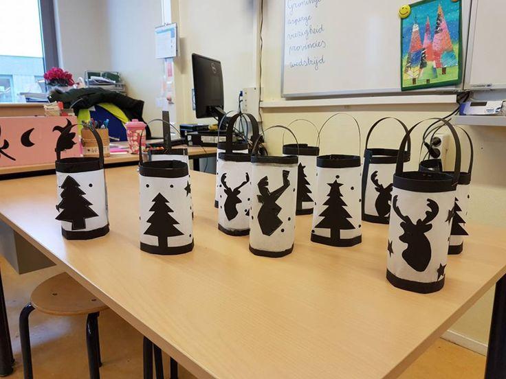 Lantaarntjes voor de kersttafel. Wit bakpapier en zwart papier. Eenvoudig en leuk. AK