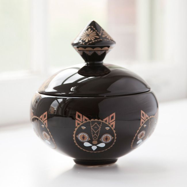 Black cat jar by Klaus Haapaniemi