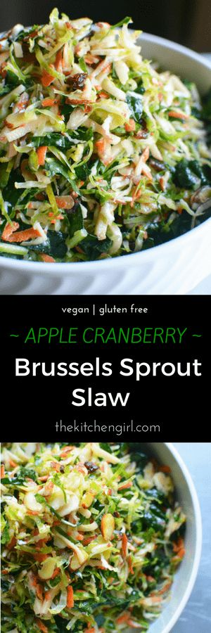 Make 'em love Brussels sprouts! This Apple Cranberry Shredded Brussels Sprout Slaw has kale, almonds, and cranberries in a cider vinaigrette.
