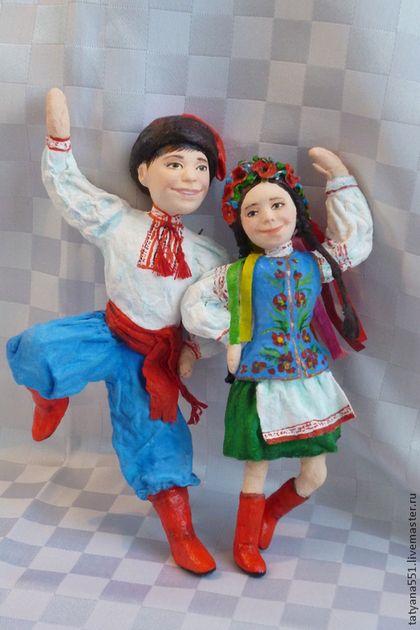 """Игрушки из ваты """"Гопачок - Оксанка и Богдан"""" - голубой,вата,игрушки ручной работы"""
