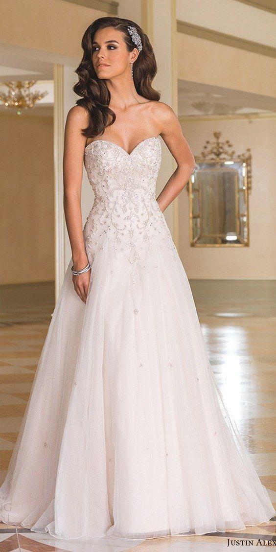 justin alexander bridal fall 2016 strapless sweetheart aline wedding dress / / http://www.himisspuff.com/sweetheart-wedding-dresses/4/ #alineweddingdresses