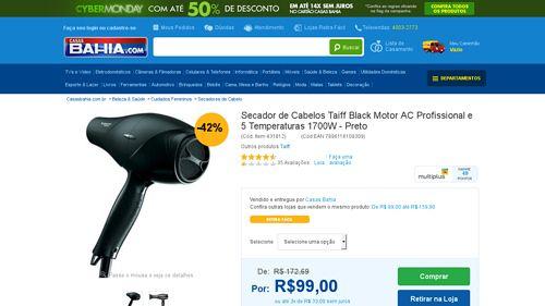 [Casas Bahia] Secador de Cabelos Taiff Black Motor AC Profissional e 5 Temperaturas 1700W - Preto 110V - de R$ 99,23 por R$ 89,10 (10% de…