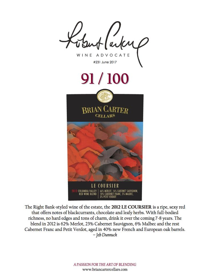 Wine Advocate Ratings 2017 - 91 Points - The Left Bank-styled wine of the estate, the 2012 Le Coursier is a ripe, sexy red that offers notes of blackcurrants, chocolate and leafy herbs. With full-bodied richness, no hard edges and tons of charm, drink it over the coming 7-8 years. The blend in 2012 is 62% Merlot, 23% Cabernet Sauvignon, 6% Malbec and the rest Cabernet Franc and Petit Verdot, aged in 40% new French and European oak barrels. – Jeb Dunnuck