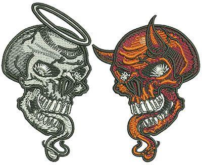 Angel Skull and Devil Skull Machine Embroidery Design or Pattern