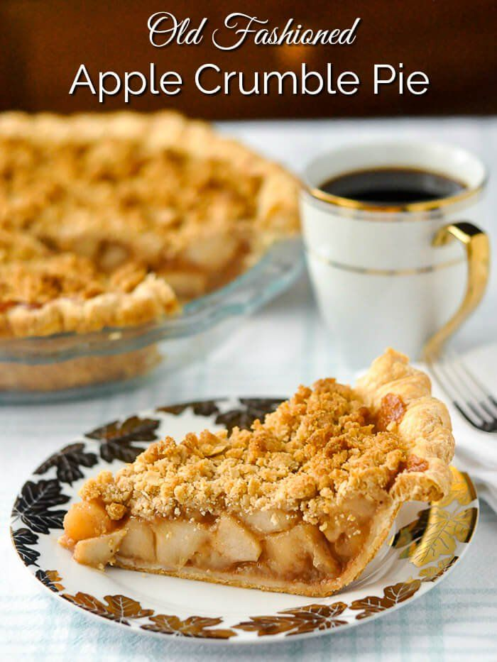 Deep Dish Apple Crumble Pie image with title text