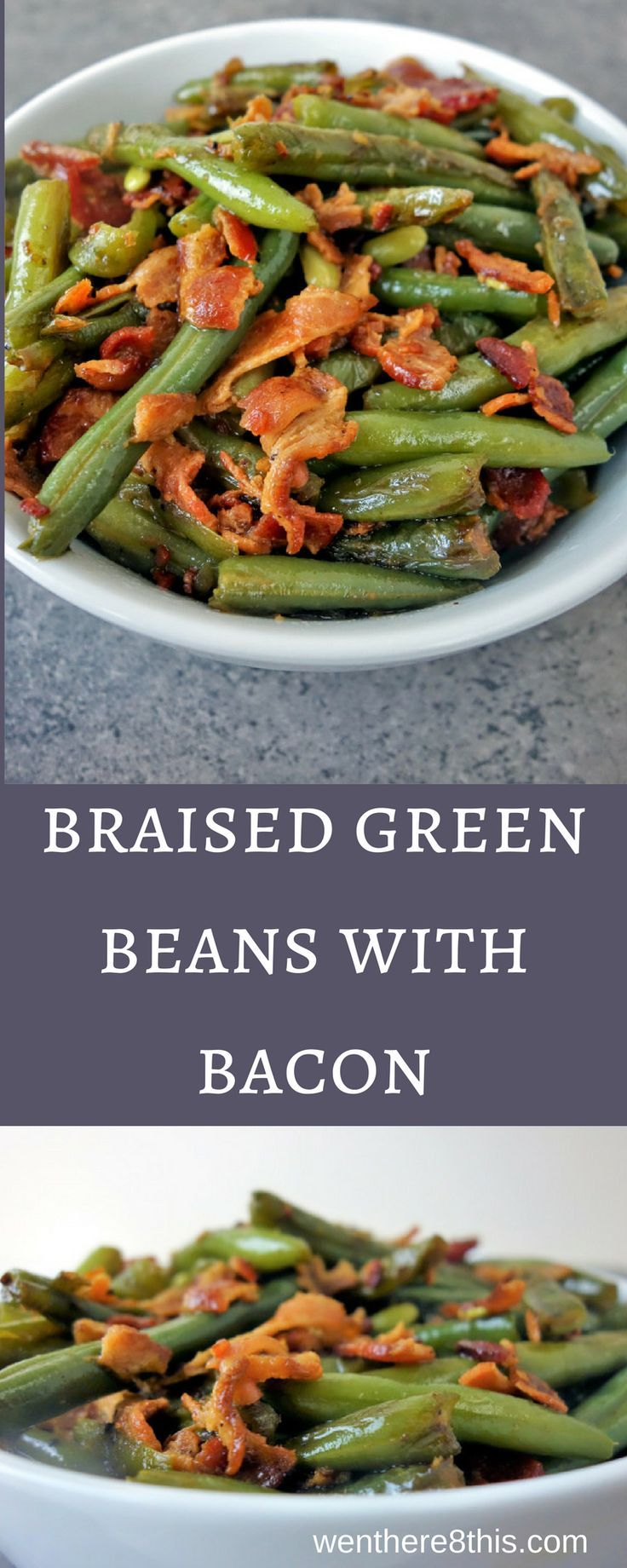 These tender Braised Green Beans with Bacon are super easy to make and great for those holiday potlucks, Thanksgiving Dinners, or any other time of the year! green beans recipes, easy green beans, green beans and bacon recipe, braised bacon green beans easy, bacon green beans braised recipe, vegetable side dish, bacon recipes, braised green beans recipe easy