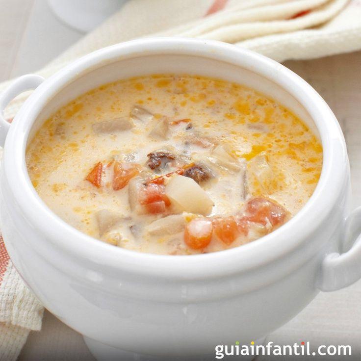 Con esta sopa de pescado sencilla para niños enfermos puedes dar a tus hijos un alimento sano de dieta blanda pero que les resulte sabroso. Receta de sopa de pescado para niños. Recetas fáciles con pescado para niños.