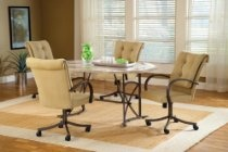 HARBOUR POINT 5PC OCTAGON DINING SET with CASTER CHAIR