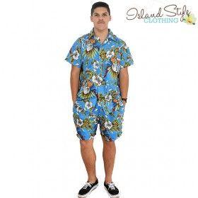 Schoolies, Spring Break, Luau or Fancy Dress costume. Blue Magnum Cabana Mens Cotton Hawaiian Shirt & Shorts