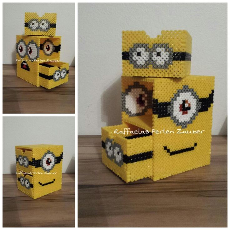DIY Minion box hama perler beads (tutorial)