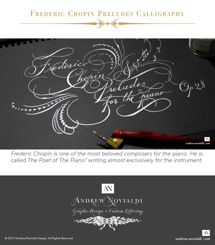 "Calligraphy flourishing on Frederic Chopin Preludes Op. 28 for Solo Piano. Chopin is one of the most beloved composers for the piano. He is called The Poet of The Piano"". The Preludes is a collection of 24 short pieces. They are highly Romantic and full of grace. This calligraphy piece reflects the mood of the music. It is highly ornamented with flourishes, rhythmical leaflets, and some musical icons. The piece is written in Spencerian hand with the pointed calligraphy pen."