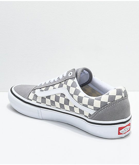 f1cab14ad1bf5e Vans Old Skool Pro Grey Checker   White Skate Shoes in 2019 ...
