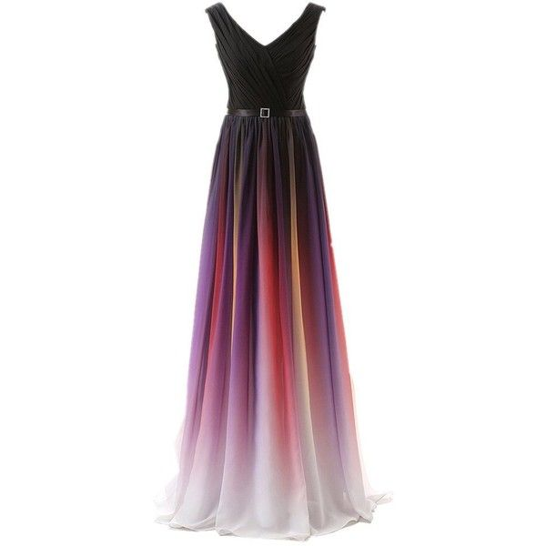 Manfei Gradient Long Prom Dress Chiffon Ruched Evening Gowns V Neck... ($89) ❤ liked on Polyvore featuring dresses, gowns, long gowns, red dress, prom gowns, red gown and long red dress