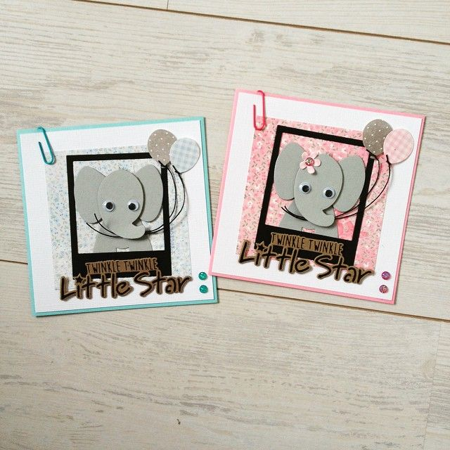 Cards by DT member Sanne with Craftables Twinkle Twinkle Little Star (CR1328), Collectables Photo Frames (COL1388) and Eline's Elephant (COL1384) by Marianne Design