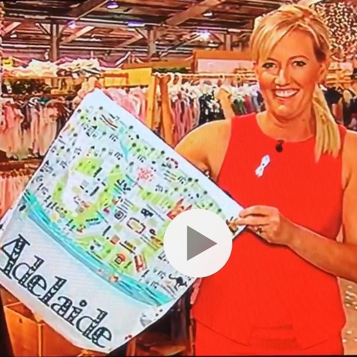 So lovely to have a visit with Jodie from @mixadelaide & Channel Ten @bowerbirdbazaar tonight. She even showed my Adelaide map tote when she did the live cross & weather report on tonight's news!  #katemasonillustration #adelaidemap #adelaidemaptote #nowtakingorders