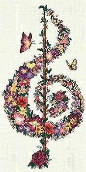 Treble Clefs.....this is a beautiful cross stitch picture.
